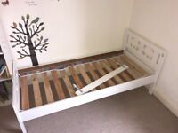 White ikea toddler bed + guard rail. Used but in good condition