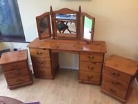 Dressing Table, Mirror and Bedside Cabinets