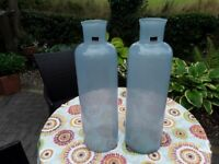 2 x 60 cm Tall glass vases