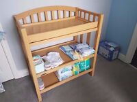 Baby Changing Station/Table - Beech - Two Shelves