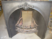 Black cast iron fire inset