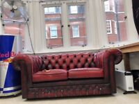Red Two Seater Chesterfield Sofa - Vintage / Damaged cushion