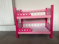 Pink doll's bunk beds