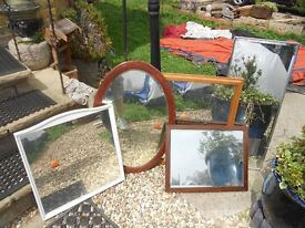 FIVE MIRRORS - OVAL ONE * SQUARE ONE * LONG ONE * 2 RECTANGLE ** JUST £10 FOR ALL 5 - CLACTON