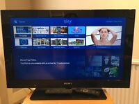 """Sony bravia 32"""" television, DVD player and sky box with remotes"""