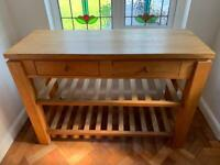 Solid oak sideboard with drawers and wine rack