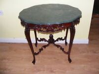 CAN DELIVER VERY RARE BEAUTIFUL FRENCH CARVED MARBLE TOP CENTRE TABLE IN V-G-C