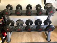 Ziva dumbells (5 pairs) and Jordan 5 pair rack 12kg 14kg 16kg 18kg 20kg Pairs