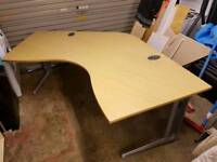 Hawk furniture large curved 8ft computer work desk with cable management *READ DESCRIPTION*