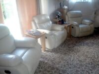3 cream leather manual reclining armchairs in excellent condition.