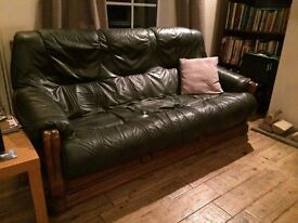 Green leather and wood 3 piece suite in good condition