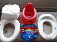 Potty training bundle - potty, 2 toilet seats, pants, pull ups, potty training book