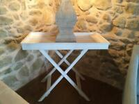 White wooden folding tray table