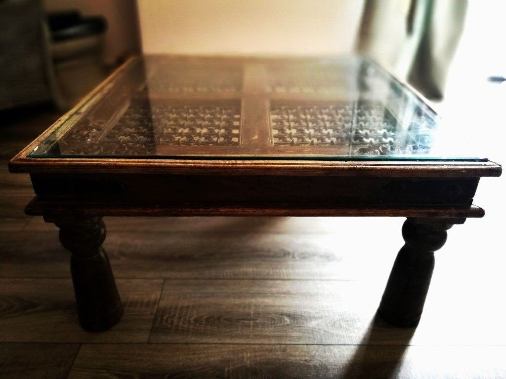 Unique solid wood glass and metal top ornate coffee table in unique solid wood glass and metal top ornate coffee table geotapseo Gallery