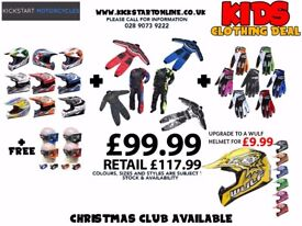GREAT KIDS GETA DEAL -HELMET -WULF SUIT-WULF GLOVES-GOGGLES ALL FOR £99.99 AT KICKSTART BELFAST