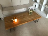 Oak coffee table with steel legs