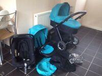 Ocean Blue Oyster Travel System stroller carrycot & Britax Babysafe Car Seat & Adaptors