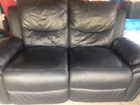 3+2 seater black leather electric reclining sofas