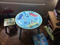 Car character table and 2 chairs plus toy box good condition - used at grandma's