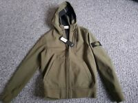 Brand New With Tags Green Khaki Stone Island Hooded Jacket Age 9/10