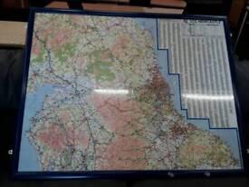 Large AZ Framed Map Newcastle 50miles