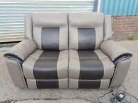 Lovely quality 2 seater leather double electric reclining sofa like new