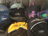 Assorted backpacks Animal,Dakine,Bilabong,Nike,Quicksilver,Salomon