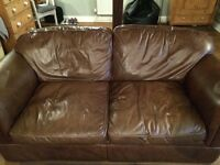 Laura Ashley brown leather sofa - good condition £300 ono