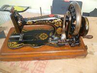 Antique Singer sewing Machine 12k fiddle base 1872 hand crank