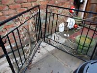 pare of garden iron front gates size 252 cm x 96 cm,, 6 years old