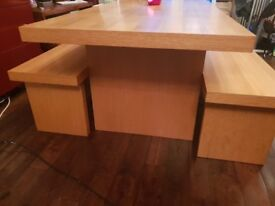Solid Oak Dining Table and 2 Benches Marks & Spencers £1200 RRP Funky Oversized Looking