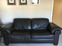 Natuzzi Brown Leather Suite (3 Seater Sofa, 2 Armchairs and Ottoman)