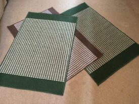 3 Rugs (2 green&white 1 brown&white)