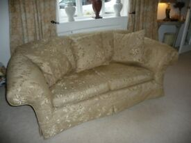Two Multi York sofas. Gold colour. Re-covered. Good condition, Comfortable. Will sell separately.