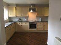 Maple kitchen units,zanussi cooker and gas hob, fridge freezer and dish washer