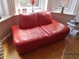Stylish Red Leather Sofa