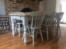 Pine table and 6 chairs painted F&B grey