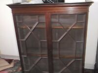 antique bookcase with glazed doors in very good condition