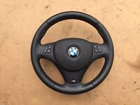 BMW E90 E91 E92 E93 E81 E82 E87 E88 E84 M SPORT/M TECH NAPPA STEERING WHEEL WITH AIRBAG SRS GENUINE