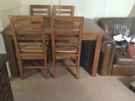 Beautiful Solid Mango Wood Table & Chairs