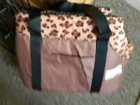 Brown and leopard print Pet carrier bag