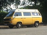 1980s classic VW T25 Campervan for sale, £6400 ono, 11 months MOT, 4 berth pop top, great runner