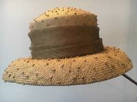 Woman's Moss Green Summer/Winter Hat with Dark Green Bow