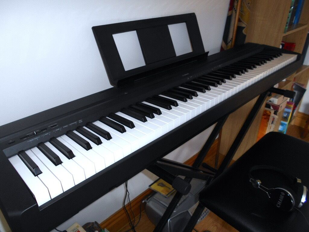yamaha p45 88 key graded hammer keyboard including stand. Black Bedroom Furniture Sets. Home Design Ideas