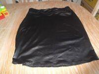 black straight skirt 16/18 length 23in or 59cm feels like soft leather