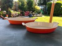 2 x Le Creuset Oval Ovenproof Dishes