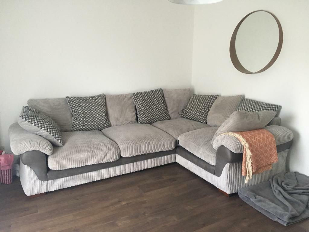 Sold Dfs Grey Fabric Corner Sofa Couch Suite In