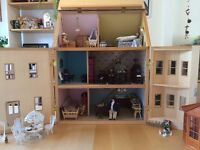 Dolls house (wooden) with furniture, accessories and lighting
