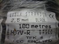 100m of 2.5mm black PVC Singles Copper Cable - 10 available