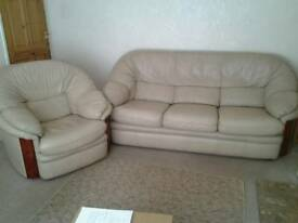 3 seater leather sofa and arm chair